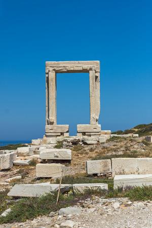 apollo: Landscape of Portara, Apollo Temple Entrance, Naxos Island, Cyclades, Greece Stock Photo