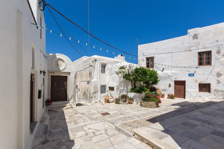 naxos: Small Square in the fortress in Chora town, Naxos Island, Cyclades, Greece Stock Photo
