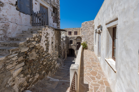 chora: Stone houses in the fortress in Chora town, Naxos Island, Cyclades, Greece