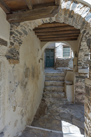 chora: Tunnel under houses in Chora town, Naxos Island, Cyclades, Greece