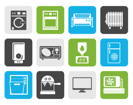 climatic: Flat Home electronics and equipment icons - vector icon set