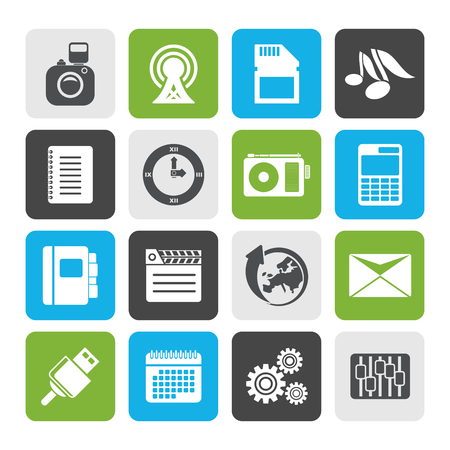 business phone: Flat Phone Performance, Business and Office Icons - Vector Icon Set