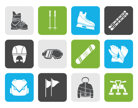piste: Flat ski and snowboard equipment icons - vector icon set
