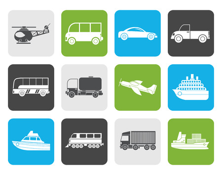 omnibus: Flat Travel and transportation icons - vector icon set