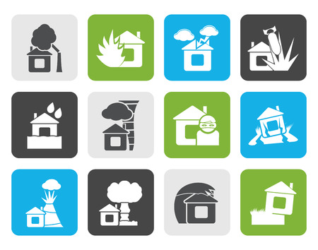 conflagration: Flat home and house insurance and risk icons - vector icon set