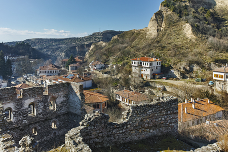 byzantine: Panoramic view of town of Melnik  from Ruins of Byzantine fortress, Blagoevgrad region, Bulgaria