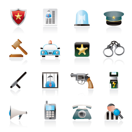 electrocution: police, law and security icons - vector icon set