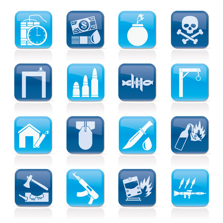 automat: terrorism and gangster equipment icons - vector icon set