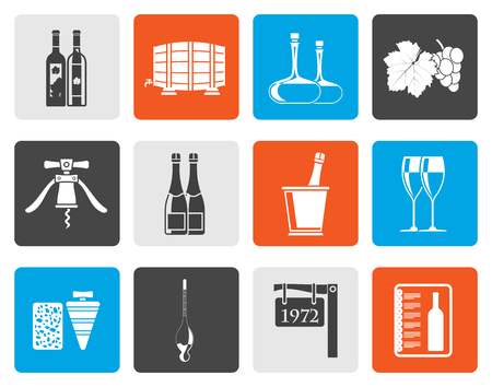 demijohn: Flat Wine and drink Icons - Vector Icon Set