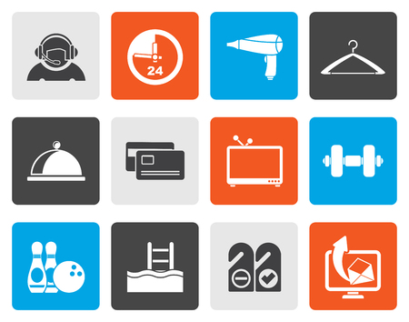 switchboard operator: Flat hotel and motel amenity icons  - vector icon set Illustration