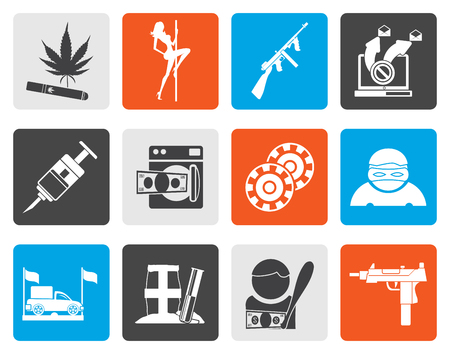 tommy: Flat mafia and organized criminality activity icons - vector icon set Illustration