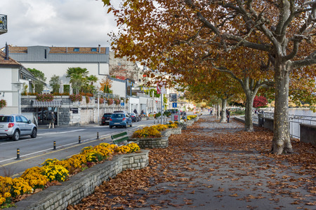 vevey: Autumn landscape of Embankment, Vevey, canton of Vaud, Switzerland