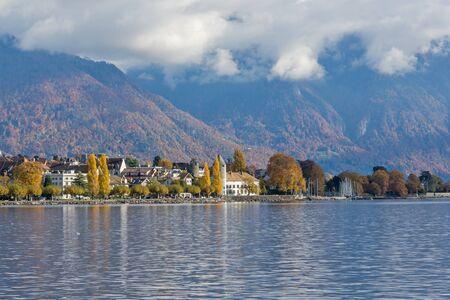 vevey: Panoramic view of Vevey, canton of Vaud, Switzerland Stock Photo