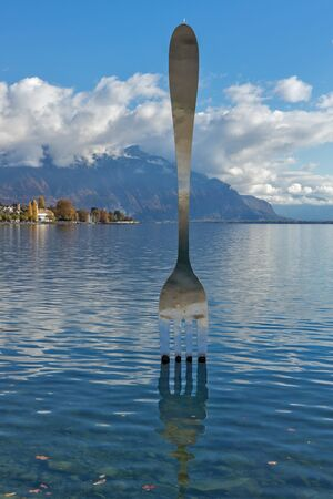 vevey: Landscape of Lake Geneva from town of Vevey, canton of Vaud, Switzerland