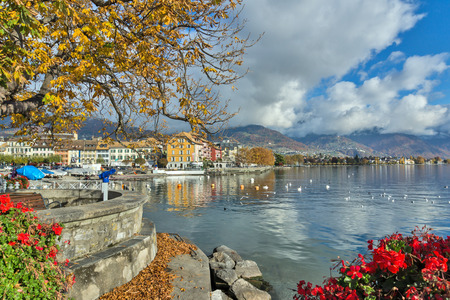 vevey: Flowers in embankment of town of Vevey and Lake Geneva, canton of Vaud, Switzerland Editorial