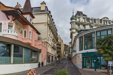 montreux: Street and old buildings in Montreux, canton of Vaud, Switzerland