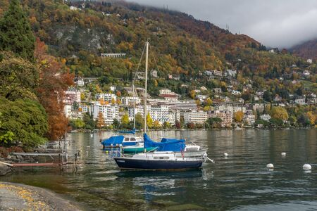 montreux: Panoramic view to Montreux and Alps, canton of Vaud, Switzerland