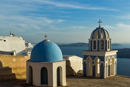 thira: Bell towers in town of Firostefani, Santorini island, Thira, Cyclades, Greece Stock Photo