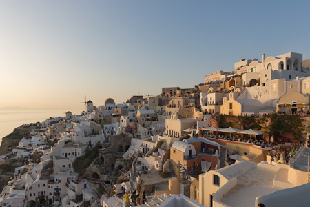 thira: Panoramic sunset Landscape in town of Oia, Santorini island, Thira, Cyclades, Greece
