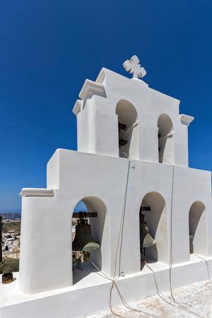 thira: White bell tower in Pyrgos Kallistis, Santorini island, Thira, Cyclades, Greece