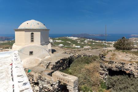 thira: Amazing panoramic view to Santorini island ad white church,  Thira, Cyclades, Greece