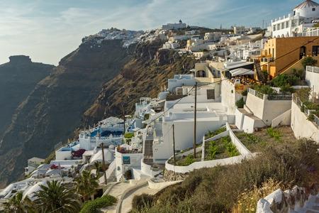 firostefani: Panoramic view to towns of Imerovigli and Firostefani, Santorini island, Thira, Cyclades, Greece