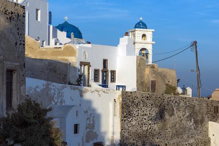 thira: White house and churches in town of Imerovigli, Santorini island, Thira, Cyclades, Greece