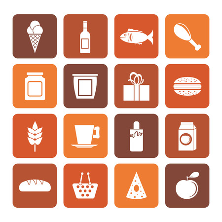 tea basket: Flat shop, food and drink icons - vector icon set