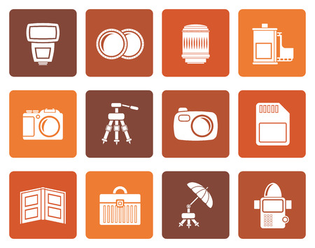 polarize: Flat Photography equipment icons - vector icon set