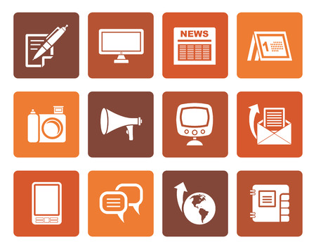 Flat Communication channels and Social Media icons - vector icon set