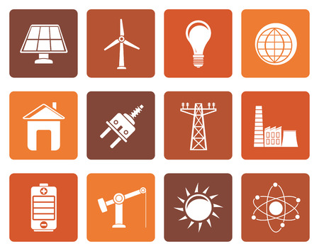 power pole: Flat power, energy and electricity icons - vector icon set Illustration
