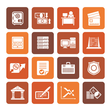 valise: Flat bank, business, finance and office icons - vector icon set Illustration