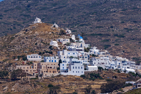 ios: Amazing Panorama of white houses in Ios Town, Cyclades, Greece Stock Photo