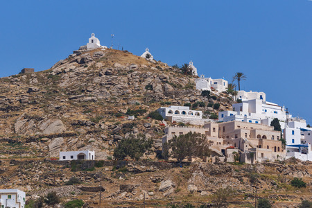 ios: Panoramic view of Chora town in Ios Island, Cyclades, Greece Stock Photo