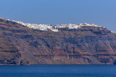 thira: Amazing Panoramic view to bay of Sanorini island, Thira,  Cyclades, Greece Stock Photo