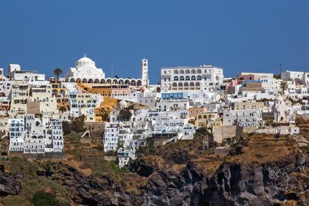 thira: Amazing view of Fira town in Sanorini island, Thira,  Cyclades, Greece