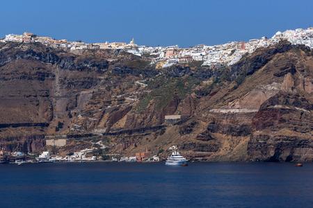 fira: Amazing Panorama of Fira town in Sanorini island, Thira,  Cyclades, Greece