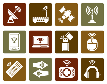 wireless communication: Flat Wireless and communication technology icons - vector icon set