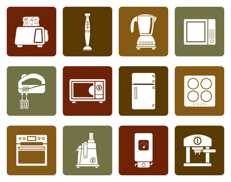 icebox: Flat Kitchen and home equipment icons - vector icon set