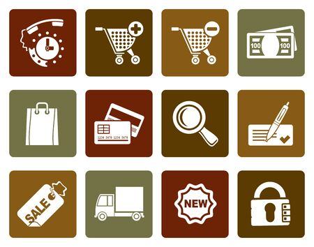 cache: Flat Internet icons for online shop - vector icon set