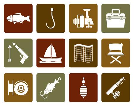 trawl: Flat Fishing and holiday icons - vector icon set