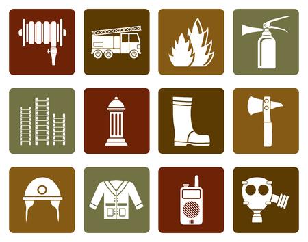 fire brigade: Flat fire brigade and fireman equipment icon - vector icon set Illustration