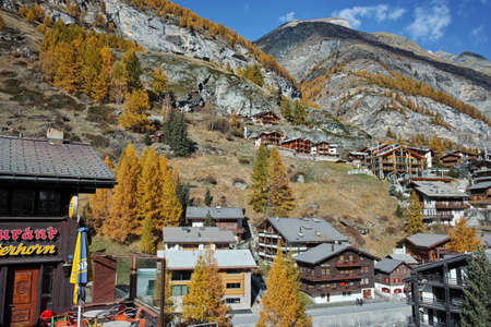 valais: wooden house in Zermatt Resort, Canton of Valais, Switzerland Editorial