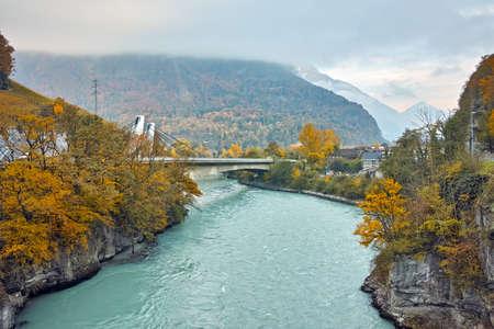 valais: Amazing Autumn Landscape of Rhone River, canton of Vaud, Switzerland