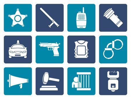 electrocution: Flat law, order, police and crime icons - vector icon set