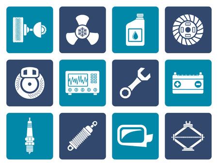 sparking plug: Flat Car Parts and Services icons - Vector Icon Set
