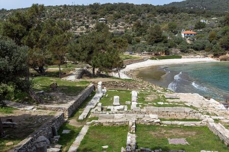 thassos: Ruins in Archaeological site of Aliki and small beach, Thassos island,  East Macedonia and Thrace, Greece
