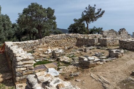 thassos: Ruins of ancient village in Archaeological site of Aliki, Thassos island,  East Macedonia and Thrace, Greece Stock Photo