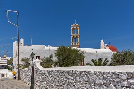 ano: Panagia Tourliani monastery in Town of Ano Mera, island of Mykonos, Cyclades, Greece Stock Photo