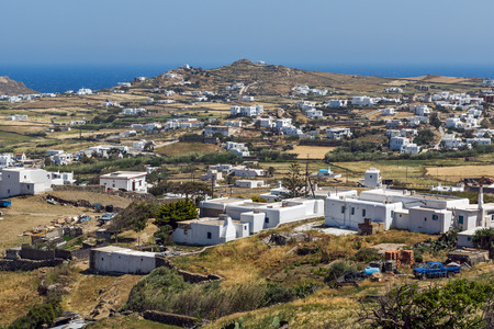 ano: Panorama of Town of Ano Mera, island of Mykonos, Cyclades, Greece